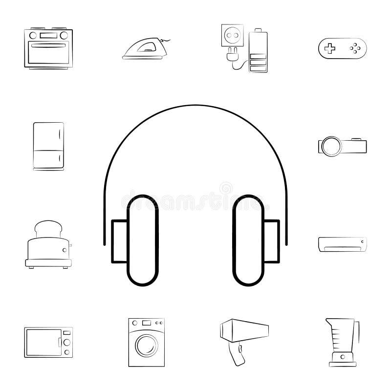 耳机象 详细的套家电 优质图形设计 其中一个网站的汇集象,网络设计, mo 库存例证