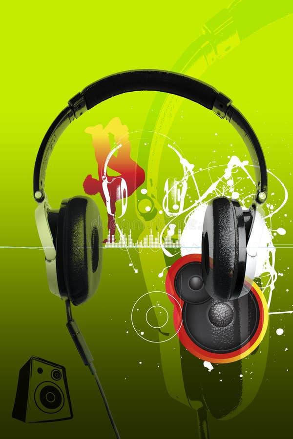 耳机都市现代音乐的样式 库存例证