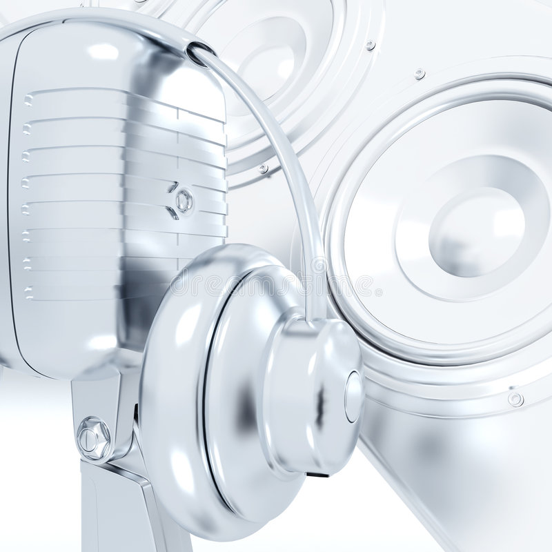 耳机金属话筒 向量例证