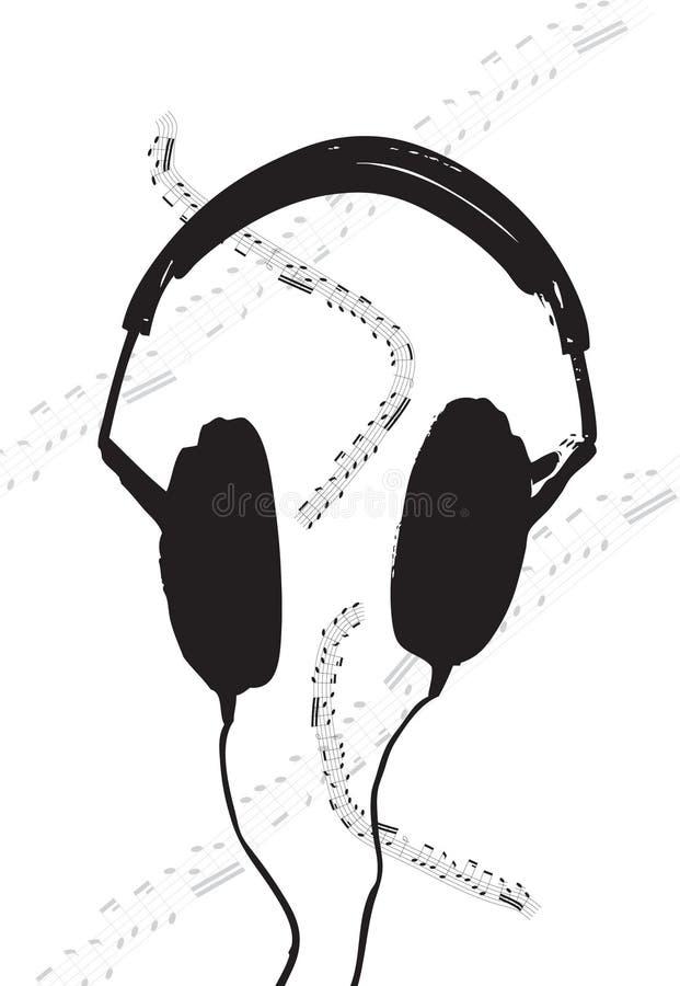 耳机音乐纸张 向量例证