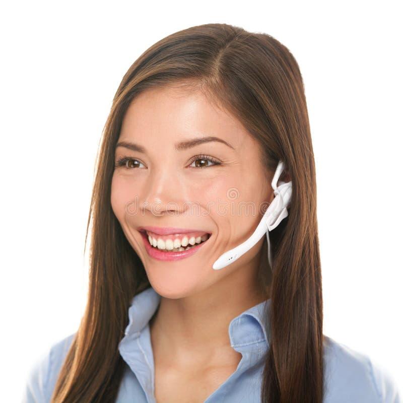 耳机顾客服务妇女谈话友好 免版税图库摄影