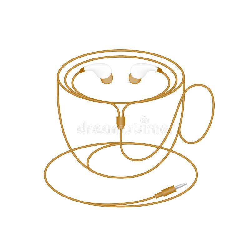 耳机,在耳朵类型褐色颜色和由缆绳做的咖啡杯形状 向量例证