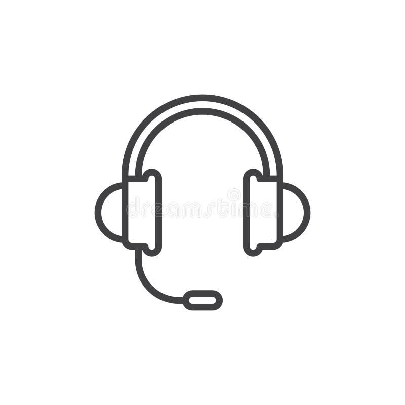 耳机,支撑线象,概述传染媒介标志,在白色隔绝的线性样式图表 库存例证