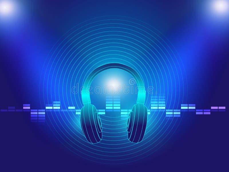 耳机techno背景传染媒介例证 库存例证