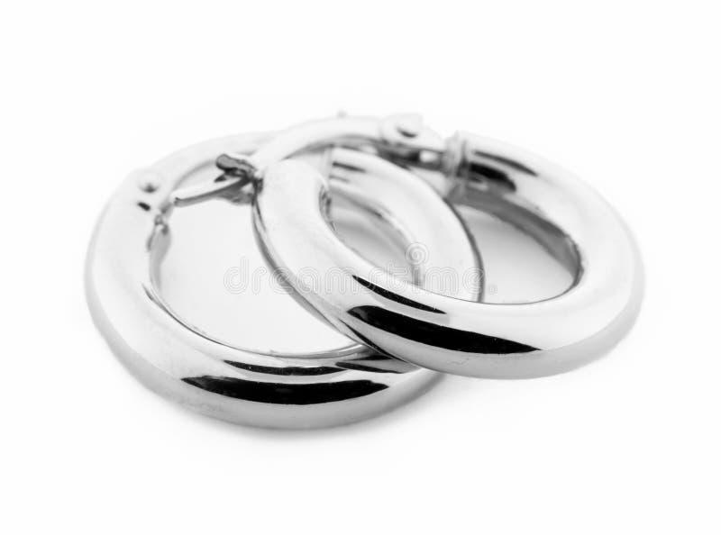 耳环珠宝银 免版税图库摄影