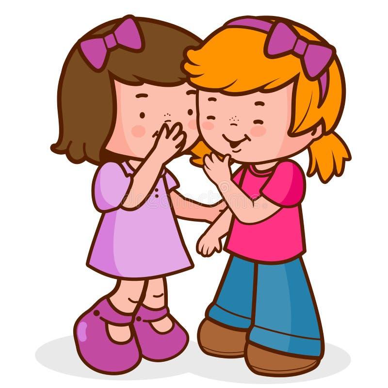 耳语的女孩,告诉秘密和笑 向量例证