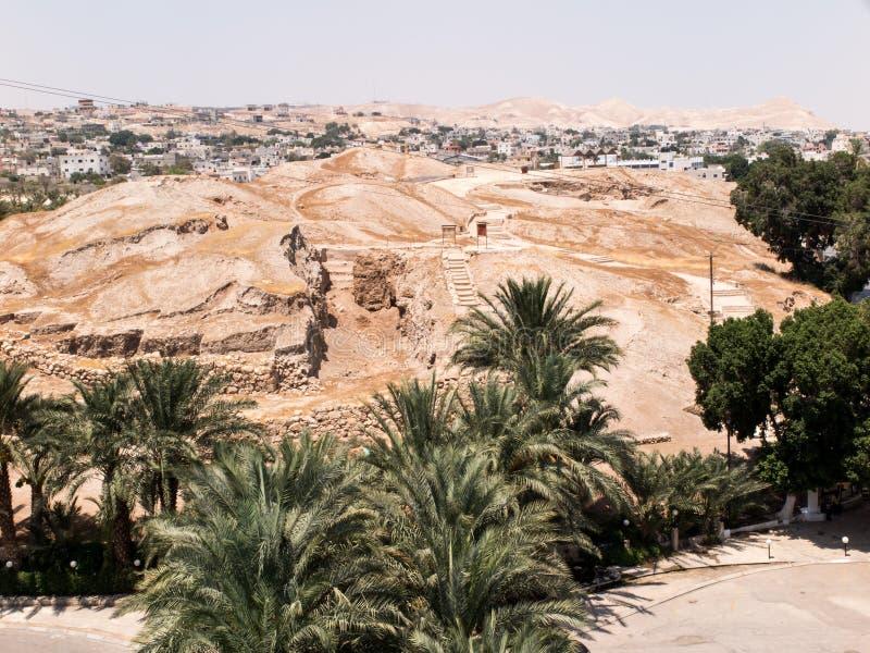 耶利哥是在约旦河附近的巴勒斯坦城市位于t 免版税库存图片