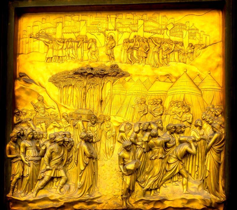 耶利哥Ghiberti天堂古铜门Bapistry中央寺院大教堂F 免版税库存照片