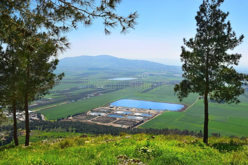 耶斯列谷的看法从卡夫泽,拿撒勒,更低的内盖夫加利利,以色列的 免版税库存照片