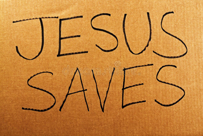 耶稣保存纸板标志 免版税库存照片