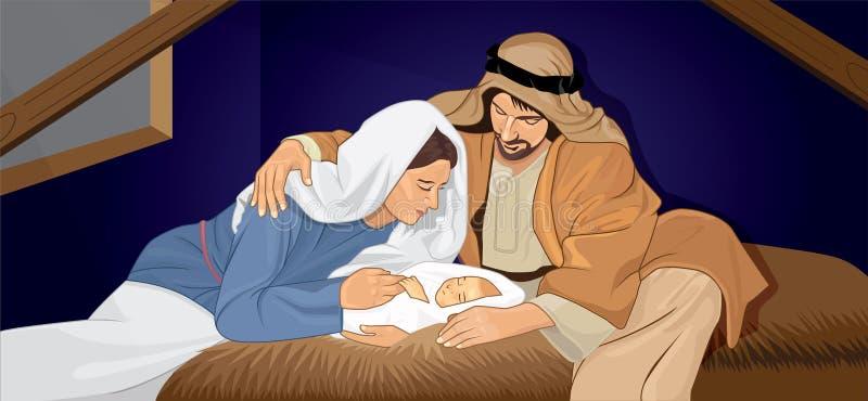 耶稣出生圣诞节玛丽约瑟夫神耶稣基督圣诞节婴孩出生饲槽诞生宗教基督徒 免版税库存照片