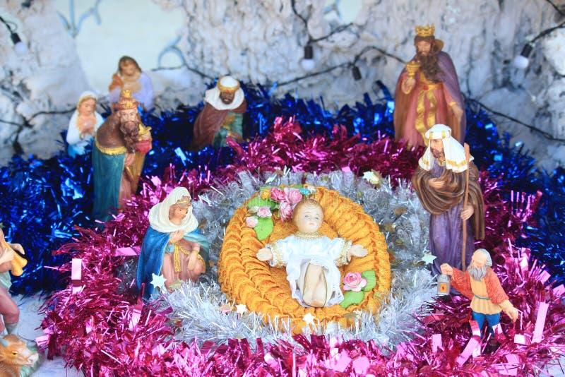 耶稣出生,诞生场面 免版税库存图片