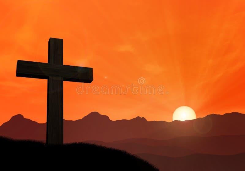 耶稣十字架在山前面的在日落 免版税库存图片