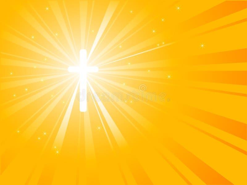 耶稣受难象旭日形首饰黄色 皇族释放例证