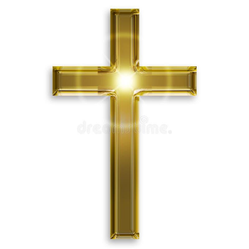 耶稣受难象的金黄标志 库存例证