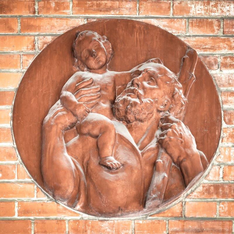 耶稣和圣约瑟夫象  库存图片