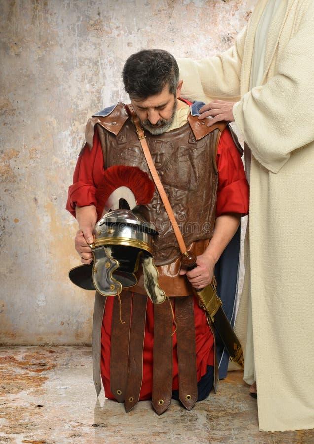 耶稣和罗马百人队队长 库存图片