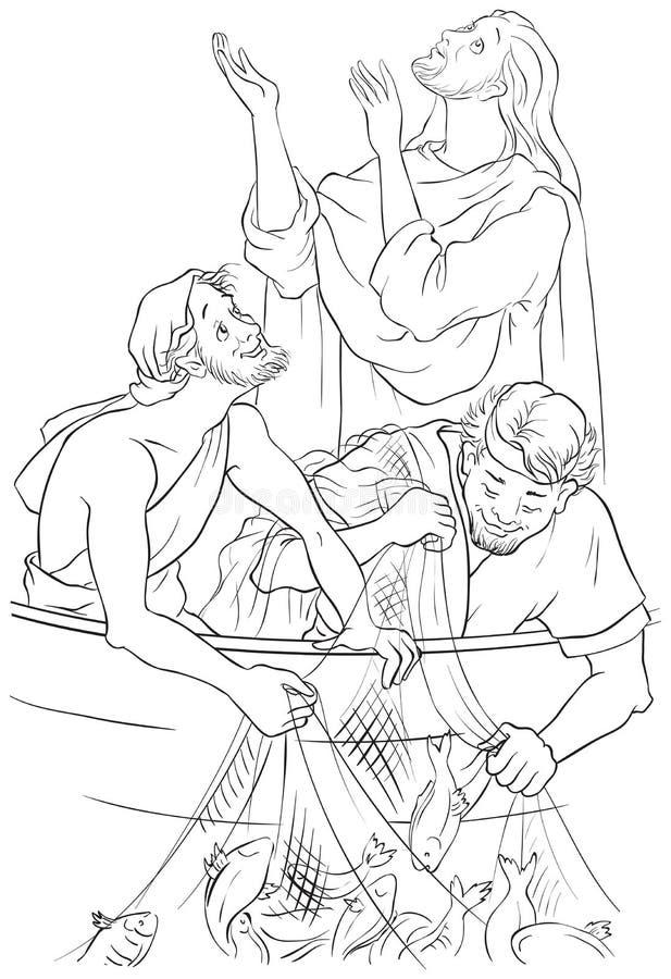 耶稣和鱼神奇的抓住  着色页 皇族释放例证