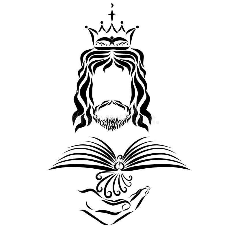 耶稣国王在他的手上拿着一只鸟有翼的类似于操作 向量例证