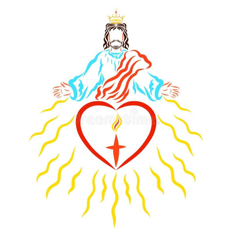 耶稣国王给人们救世和信念光  皇族释放例证