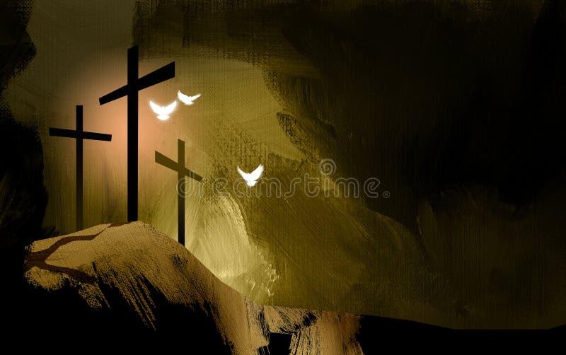 耶稣图表基督徒十字架环境美化与精神鸠 向量例证