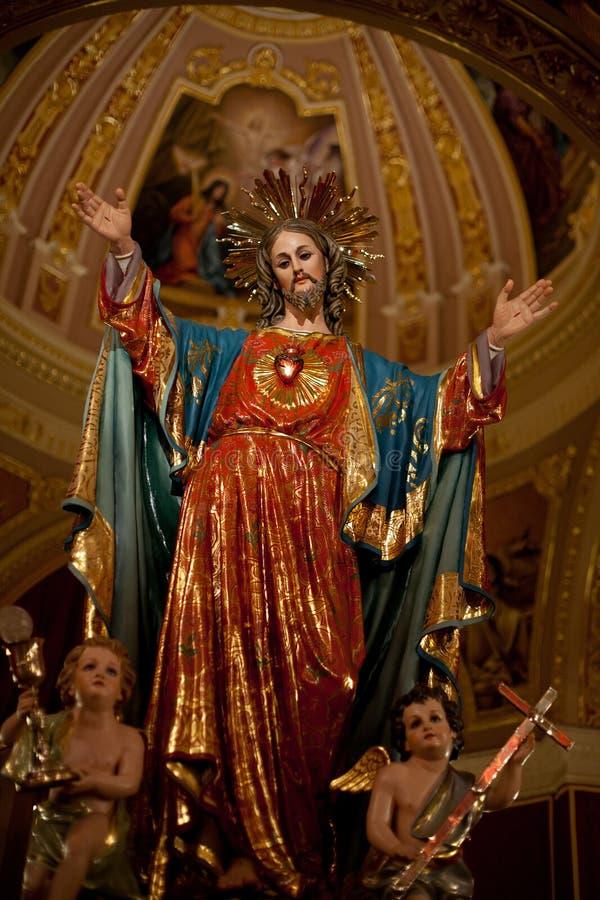 耶稣圣心的耶稣雕象 库存照片