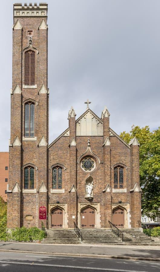 耶稣圣心,Darlinghurst,悉尼,澳大利亚的天主教的门面,在一好日子 免版税库存图片