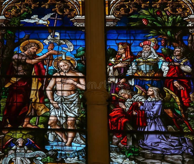 耶稣圣约翰-彩色玻璃洗礼在布尔戈斯Cathedr 免版税库存图片