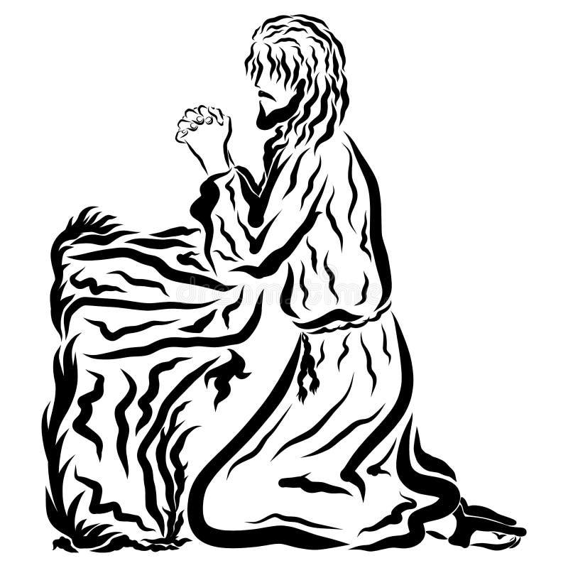 耶稣在他的膝盖祈祷在客西马尼园庭院里  库存例证