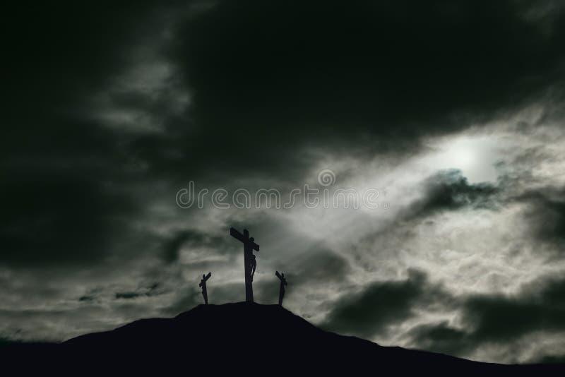 耶稣在十字架上钉死Golgotha的与拷贝空间 免版税库存照片
