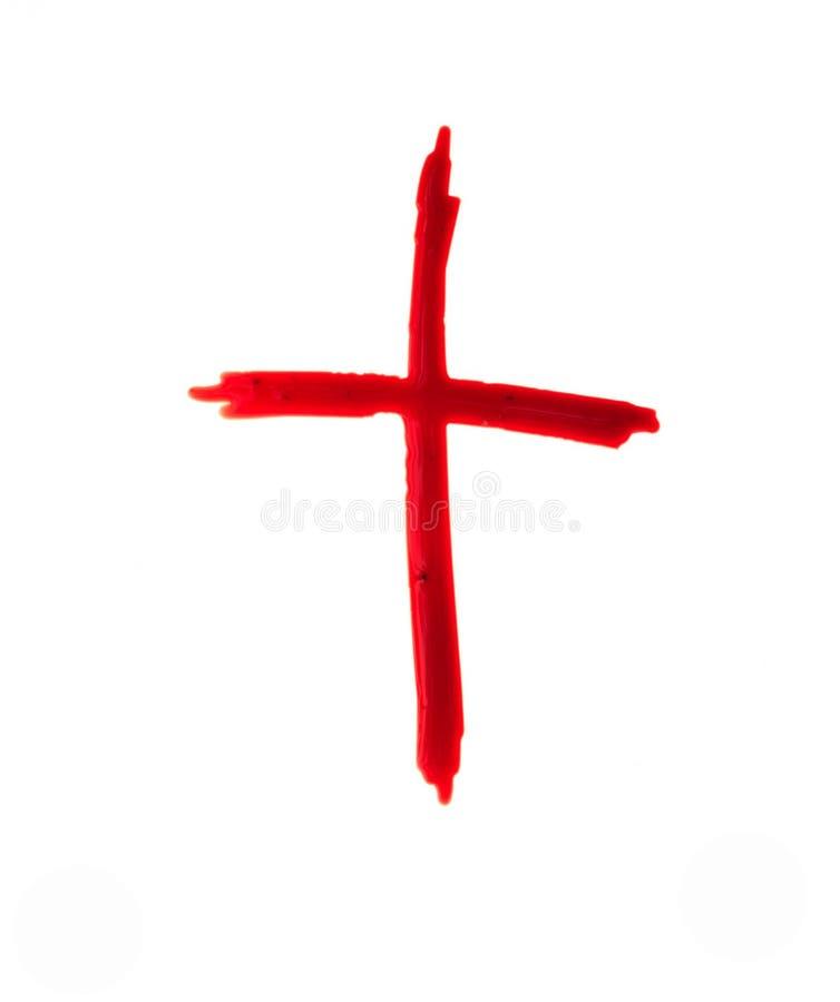 耶稣基督商标 在白色的耶稣受难象血液 库存图片