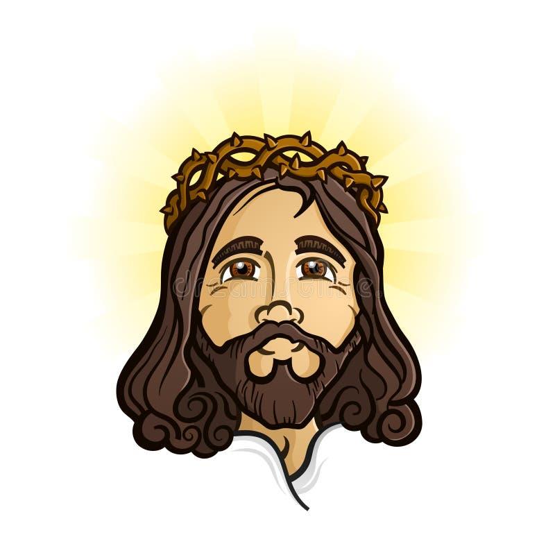 耶稣基督圣洁救主和圣子卡通人物 库存例证