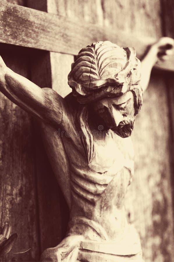 耶稣基督在十字架上钉死作为复活和immo的标志 库存照片
