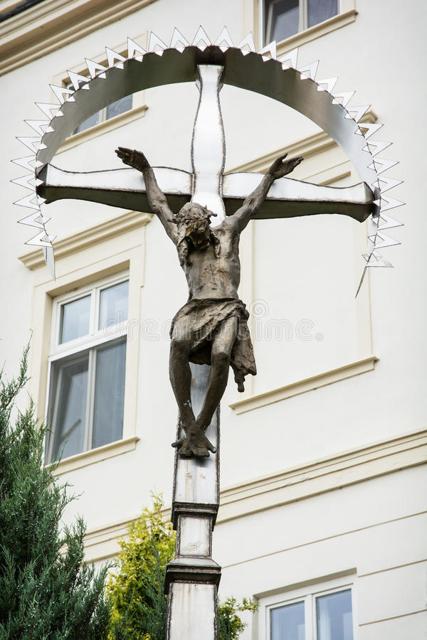 耶稣基督大在十字架上钉死  库存照片