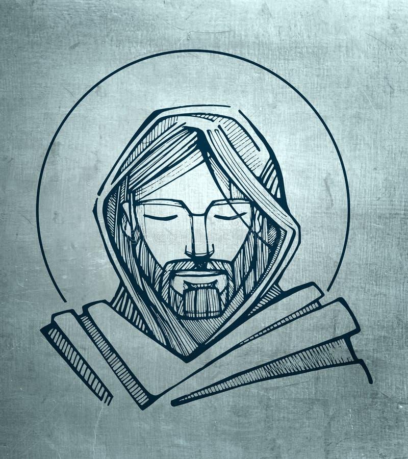 耶稣基督平静的面孔 向量例证