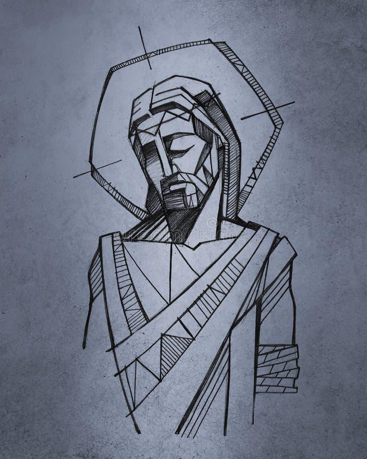 耶稣基督手拉的例证 向量例证
