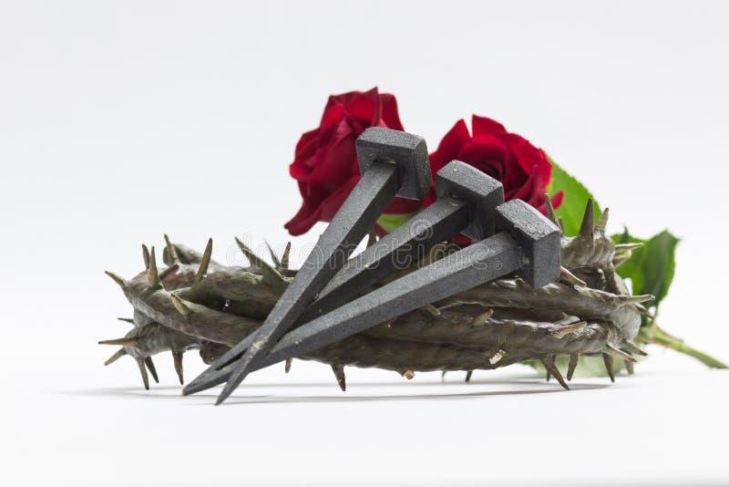 耶稣基督铁海棠、钉子和两朵玫瑰 免版税库存图片