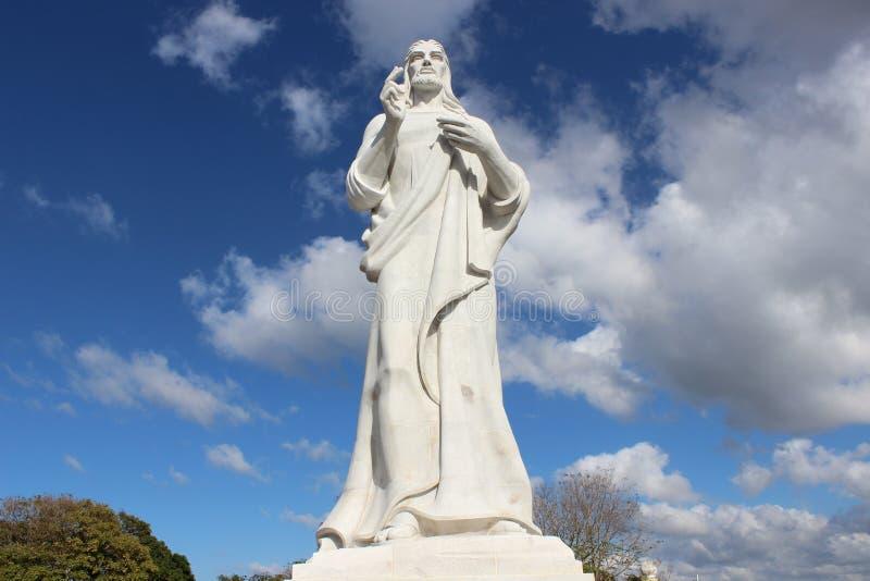 耶稣基督雕象在哈瓦那,古巴 库存照片