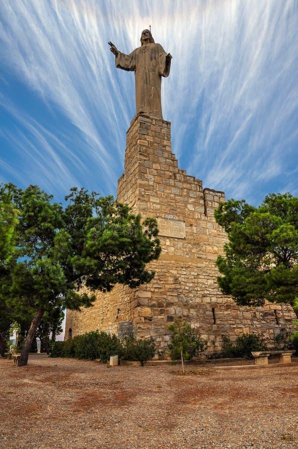 耶稣基督雕象在图德拉,西班牙 库存照片