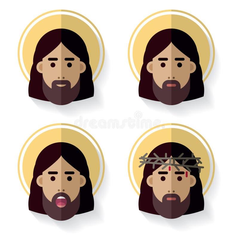 耶稣基督面对平的象 皇族释放例证