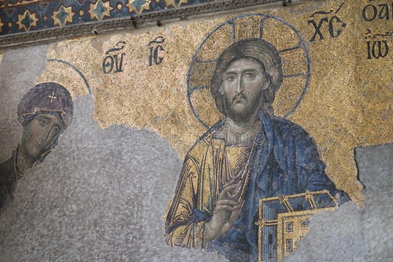 耶稣基督马赛克在圣索非亚大教堂老教会也告诉了Holy Wisdom,密室索非亚,密室Sapientia或Ayasofya  免版税库存照片