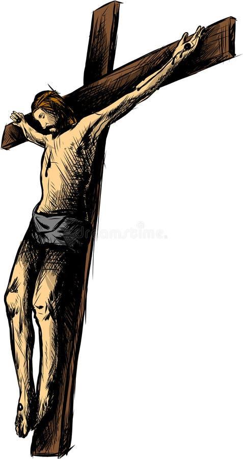 耶稣基督,在铁海棠的圣子在他的头,基督教手拉的传染媒介例证的标志的 库存例证