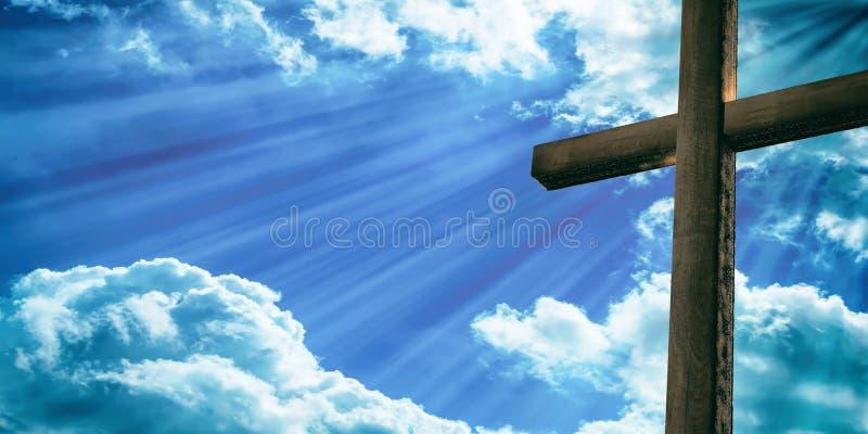 耶稣基督,木十字架,蓝天背景在十字架上钉死  3d例证 皇族释放例证