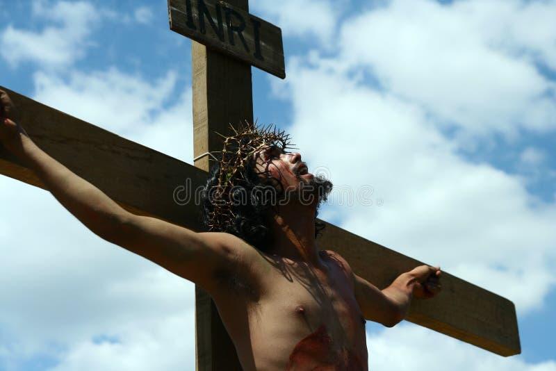 耶稣基督死亡的再制定  免版税库存照片