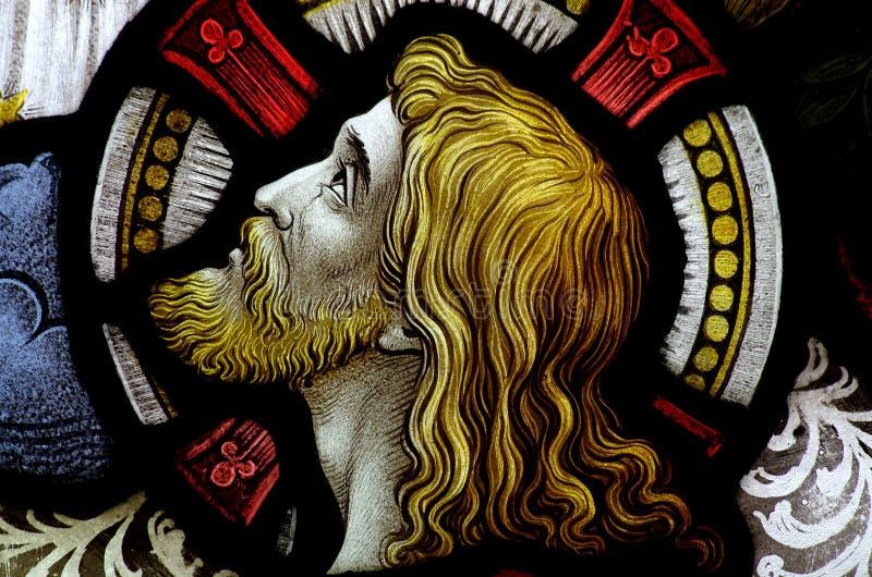 耶稣基督头彩色玻璃的 库存照片