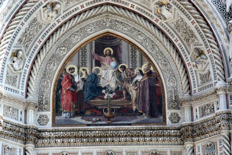 耶稣壁画中央寺院大教堂佛罗伦萨意大利 免版税库存照片