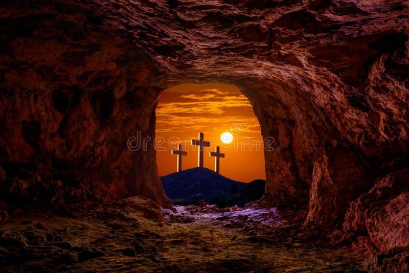 耶稣复活坟墓严重十字架 库存照片
