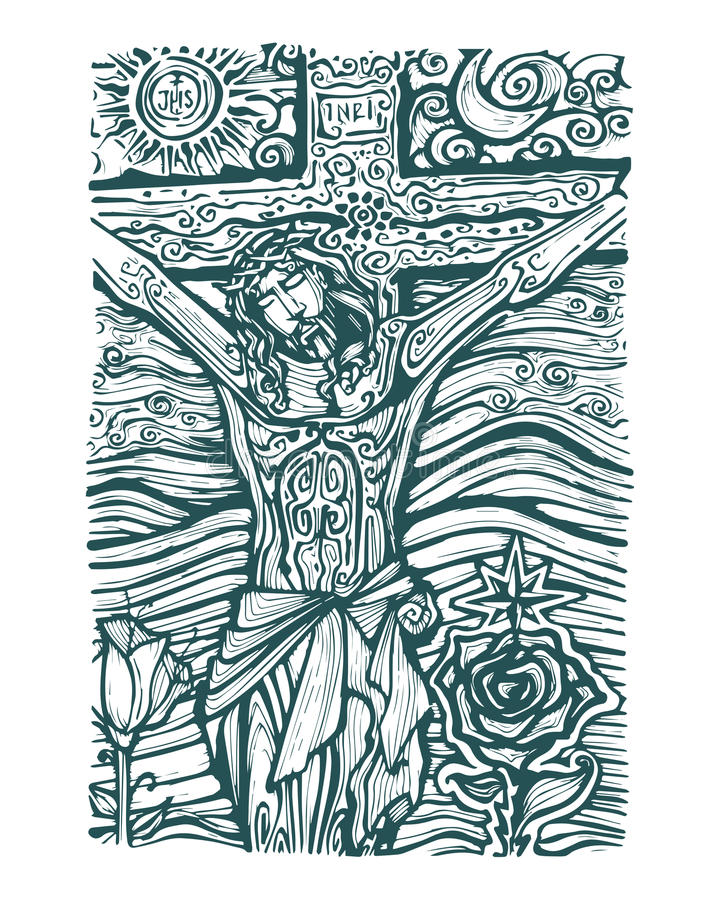 耶稣太阳和月亮 皇族释放例证