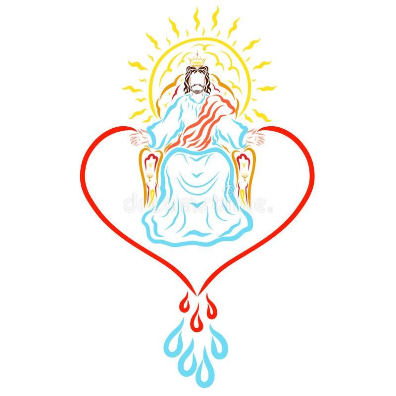 耶稣救主国王和救世主,被赞美的阁下 向量例证
