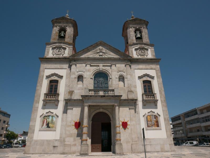 耶稣教会的神圣的心脏在波瓦-迪瓦尔津,葡萄牙 图库摄影